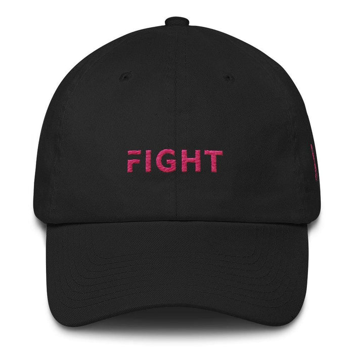 Breast Cancer Awareness Dad Hat with Fight and Pink Ribbon - One-size / Black - Hats