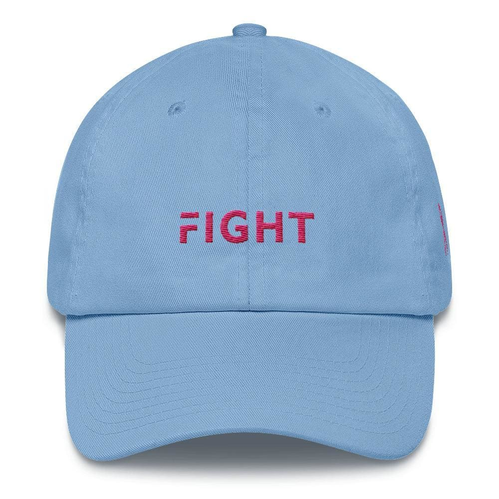 Load image into Gallery viewer, Breast Cancer Awareness Dad Hat with Fight and Pink Ribbon - One-size / Carolina Blue - Hats