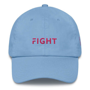 Breast Cancer Awareness Dad Hat with Fight and Pink Ribbon - One-size / Carolina Blue - Hats