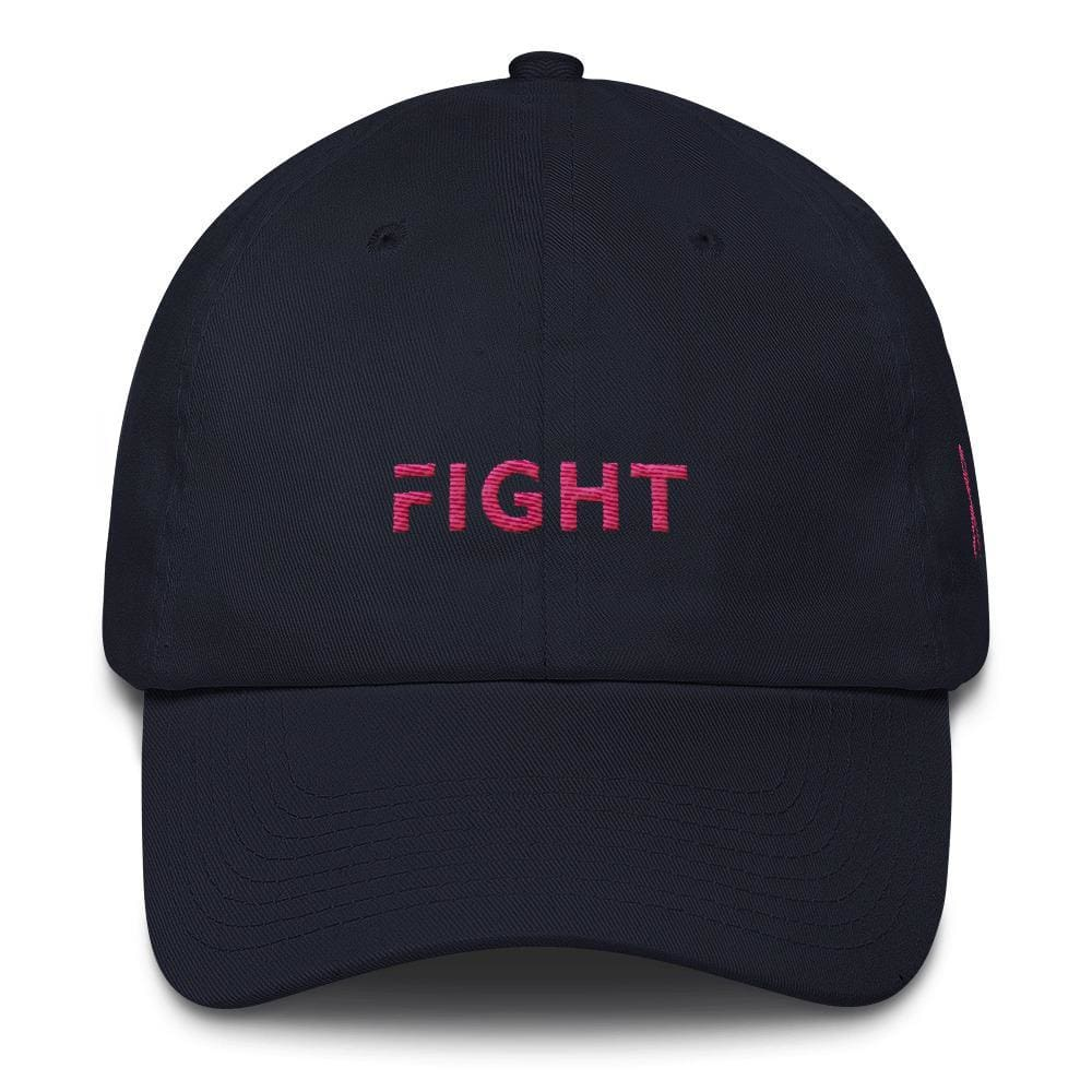 Load image into Gallery viewer, Breast Cancer Awareness Dad Hat with Fight and Pink Ribbon - One-size / Navy - Hats