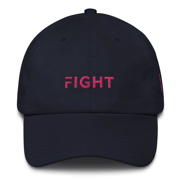 Breast Cancer Awareness Dad Hat with Fight and Pink Ribbon - One-size / Navy - Hats