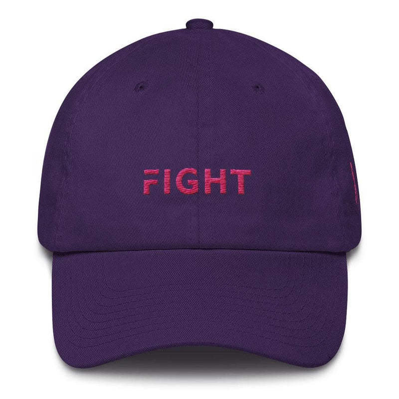 Breast Cancer Awareness Dad Hat with Fight and Pink Ribbon - One-size / Purple - Hats