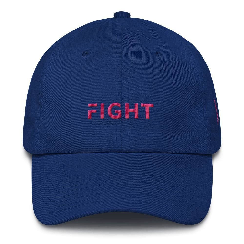 Breast Cancer Awareness Dad Hat with Fight and Pink Ribbon - One-size / Royal Blue - Hats