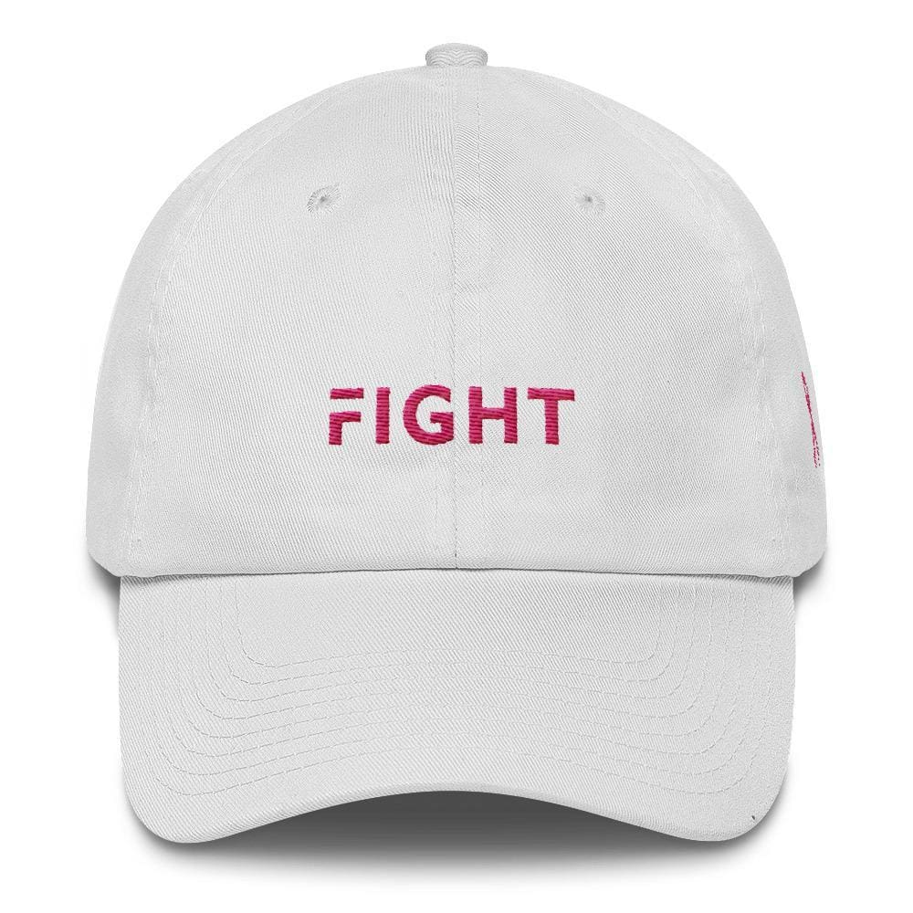 Load image into Gallery viewer, Breast Cancer Awareness Dad Hat with Fight and Pink Ribbon - One-size / White - Hats