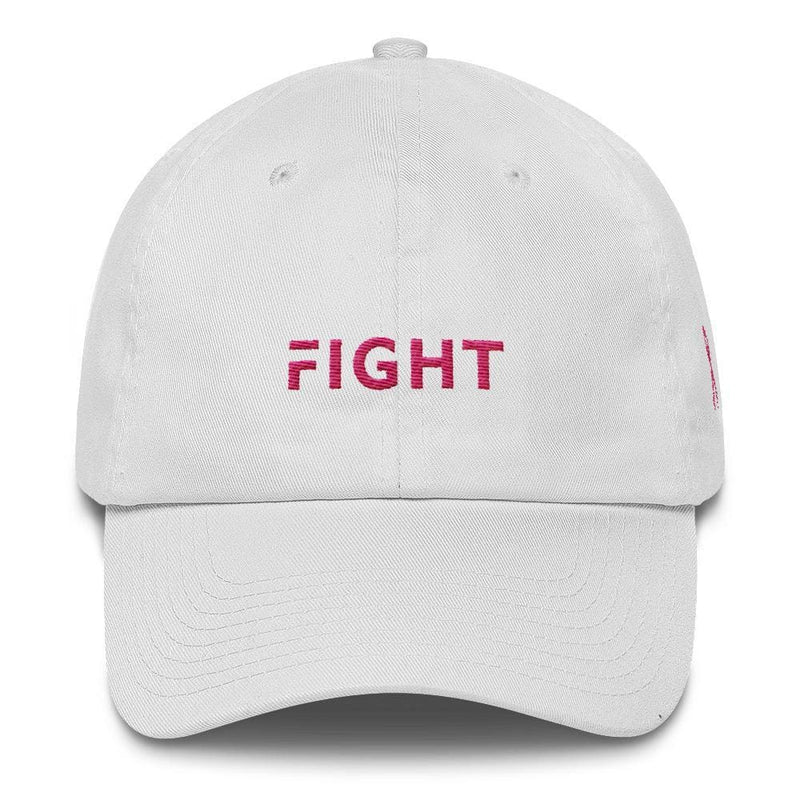 Breast Cancer Awareness Dad Hat with Fight and Pink Ribbon - One-size / White - Hats