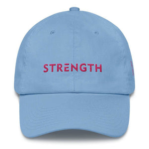 Breast Cancer Awareness Dad Hat with Strength and Pink Ribbon - One-size / Carolina Blue - Hats