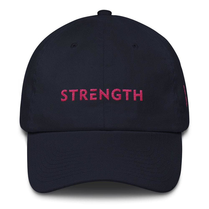 Breast Cancer Awareness Dad Hat with Strength and Pink Ribbon - One-size / Navy - Hats