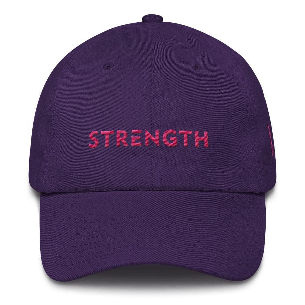 Breast Cancer Awareness Dad Hat with Strength and Pink Ribbon - One-size / Purple - Hats
