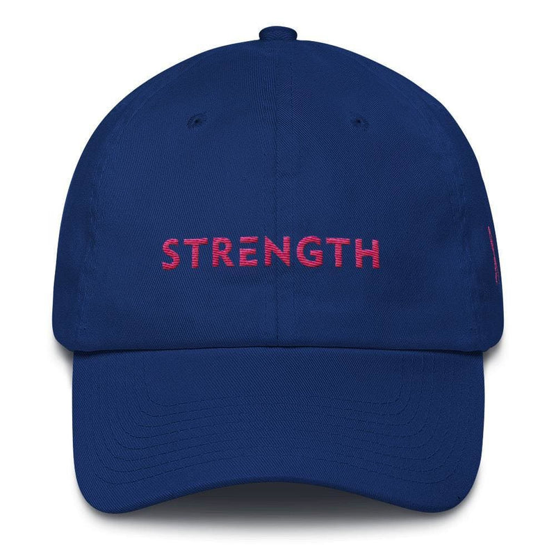 Breast Cancer Awareness Dad Hat with Strength and Pink Ribbon - One-size / Royal Blue - Hats