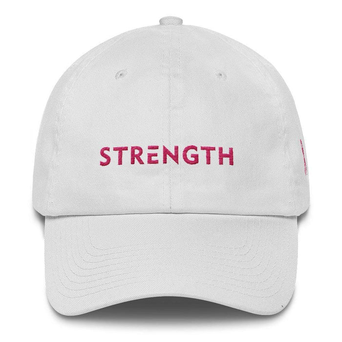 Breast Cancer Awareness Dad Hat with Strength and Pink Ribbon - One-size / White - Hats