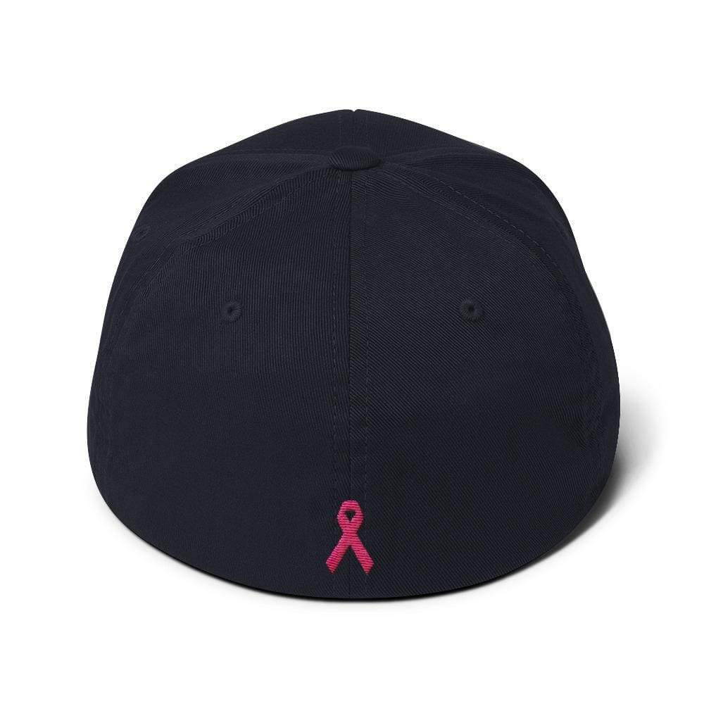 Breast Cancer Awareness Fitted Flexfit Baseball Hat With Warrior And Pink Ribbon On The Back - Hats