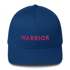 Breast Cancer Awareness Fitted Flexfit Baseball Hat With Warrior And Pink Ribbon On The Back - S/m / Royal Blue - Hats