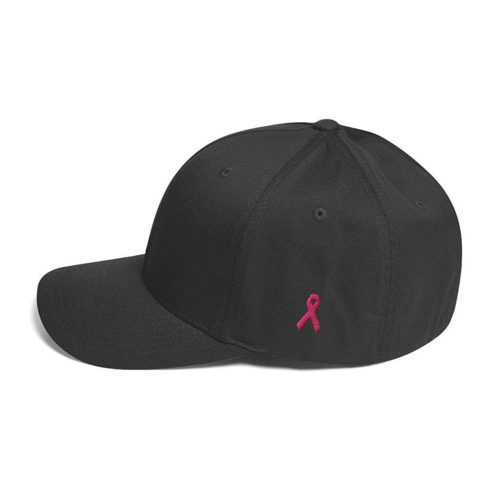 Breast Cancer Awareness Fitted Flexfit Twill Baseball Hat With Pink Ribbon On The Side - S/m / Dark Grey - Hats