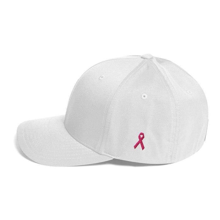Breast Cancer Awareness Fitted Flexfit Twill Baseball Hat With Pink Ribbon On The Side - S/m / White - Hats