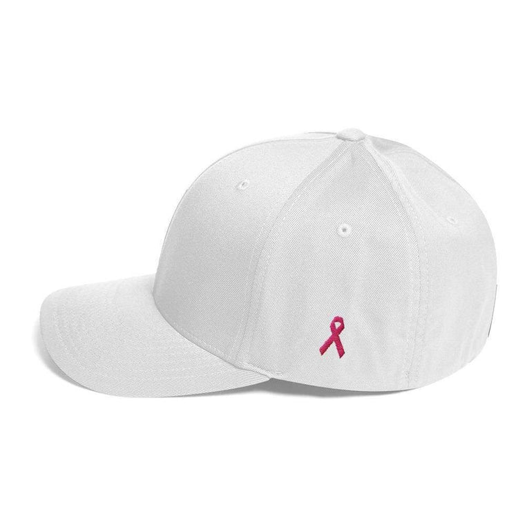 Breast Cancer Awareness Fitted Flexfit Twill Baseball Hat with Pink Ribbon on the Side