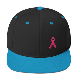 Breast Cancer Awareness Snapback Hat with Flat Brim and Pink Ribbon - One-size / Black/ Teal - Hats