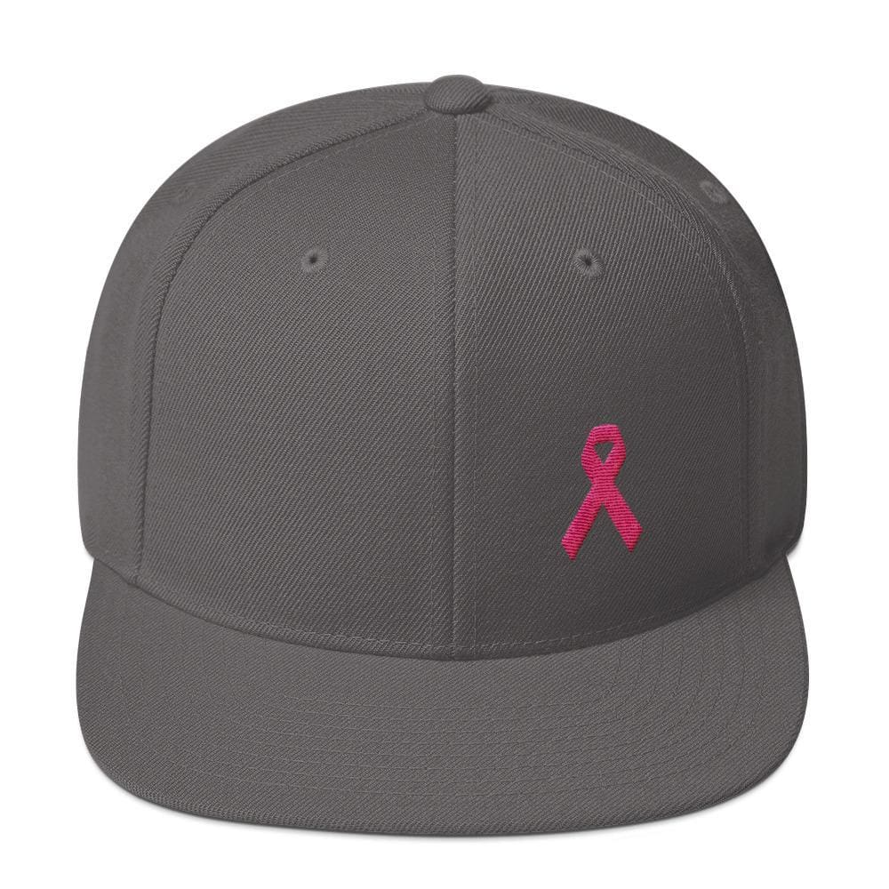 Breast Cancer Awareness Snapback Hat with Flat Brim and Pink Ribbon - One-size / Dark Grey - Hats