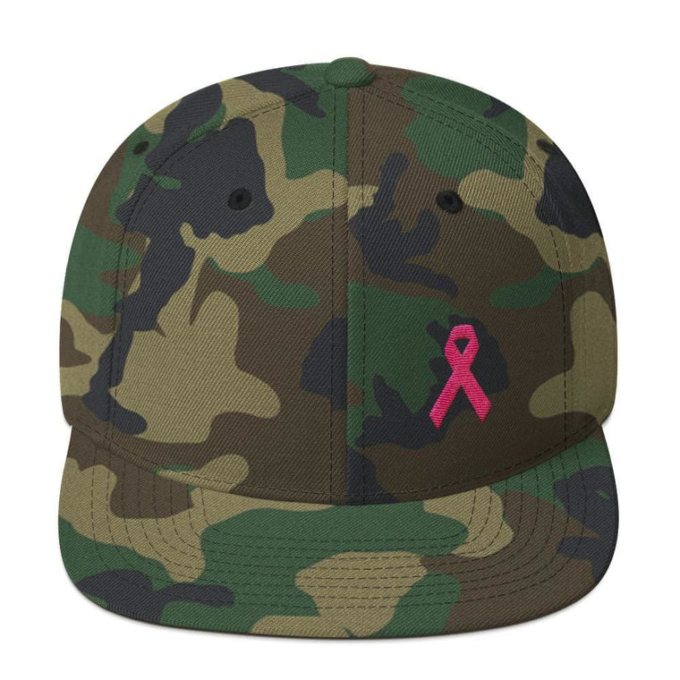 Breast Cancer Awareness Snapback Hat with Flat Brim and Pink Ribbon