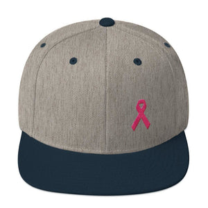 Breast Cancer Awareness Snapback Hat with Flat Brim and Pink Ribbon - One-size / Heather Grey/ Navy - Hats