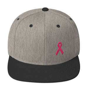 Breast Cancer Awareness Snapback Hat with Flat Brim and Pink Ribbon - One-size / Heather/Black - Hats