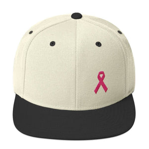 Breast Cancer Awareness Snapback Hat with Flat Brim and Pink Ribbon - One-size / Natural/ Black - Hats