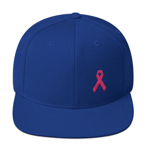 Breast Cancer Awareness Snapback Hat with Flat Brim and Pink Ribbon - One-size / Royal Blue - Hats