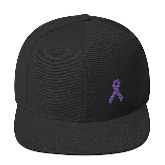 Cancer and Alzheimers Awareness Flat Brim Snapback Hat with Purple Ribbon - One-size / Black - Hats
