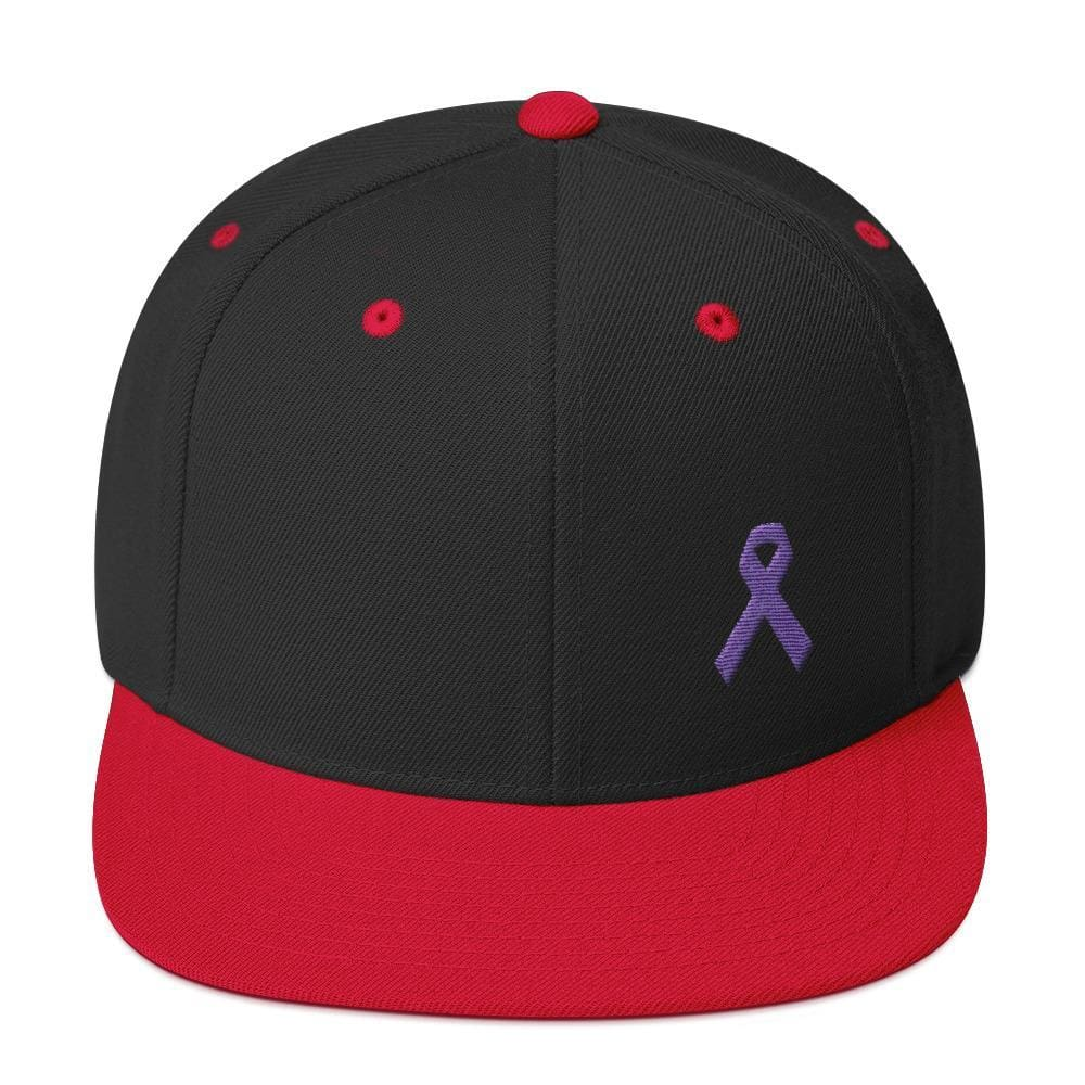 Load image into Gallery viewer, Cancer and Alzheimers Awareness Flat Brim Snapback Hat with Purple Ribbon - One-size / Black/ Red - Hats