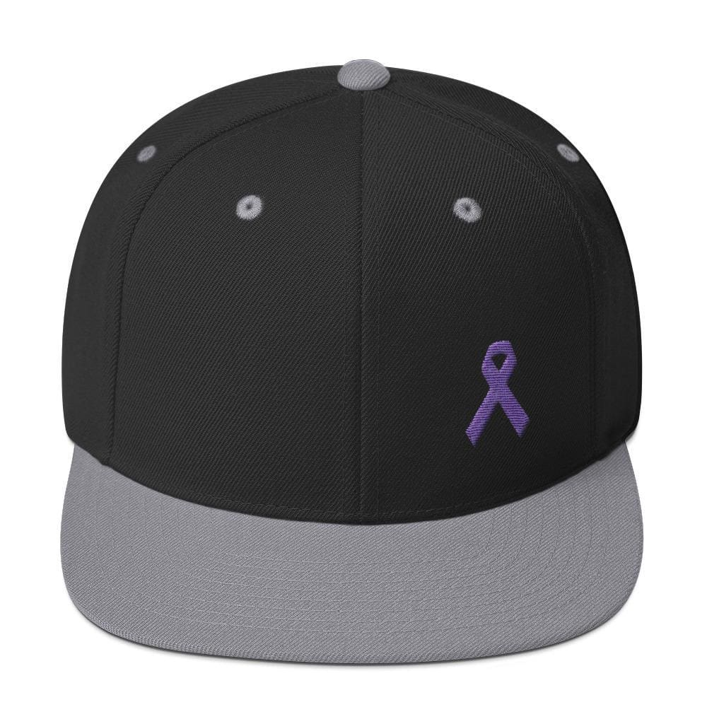 Load image into Gallery viewer, Cancer and Alzheimers Awareness Flat Brim Snapback Hat with Purple Ribbon - One-size / Black/ Silver - Hats