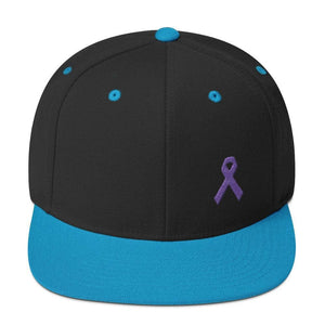 Cancer and Alzheimers Awareness Flat Brim Snapback Hat with Purple Ribbon - One-size / Black/ Teal - Hats