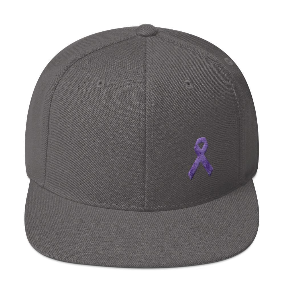 Cancer and Alzheimers Awareness Flat Brim Snapback Hat with Purple Ribbon - One-size / Dark Grey - Hats