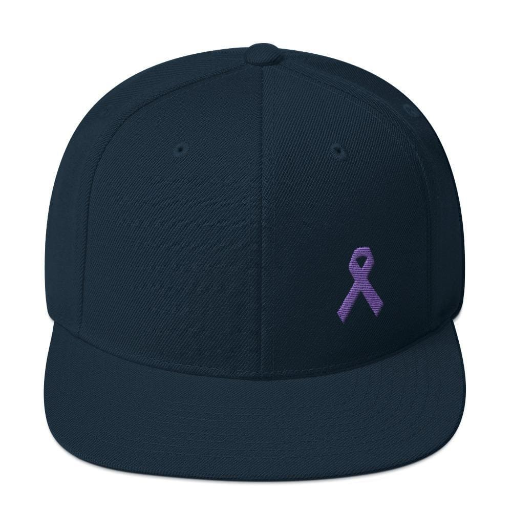 Cancer and Alzheimers Awareness Flat Brim Snapback Hat with Purple Ribbon - One-size / Dark Navy - Hats