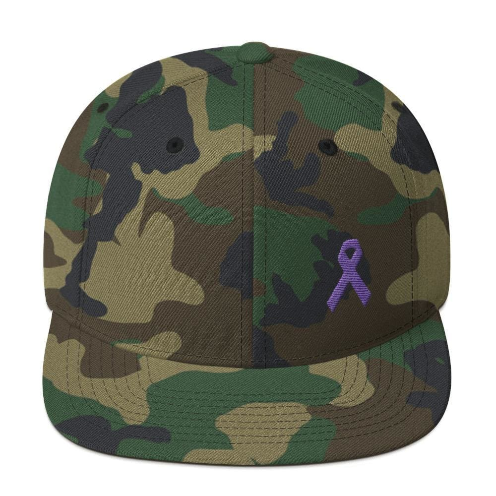 Cancer and Alzheimers Awareness Flat Brim Snapback Hat with Purple Ribbon - One-size / Green Camo - Hats