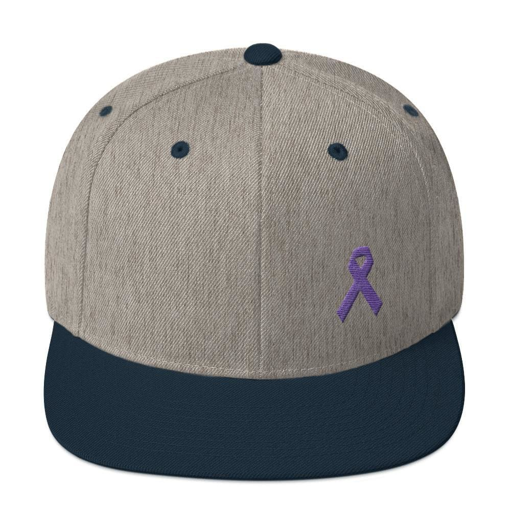 Load image into Gallery viewer, Cancer and Alzheimers Awareness Flat Brim Snapback Hat with Purple Ribbon - One-size / Heather Grey/ Navy - Hats