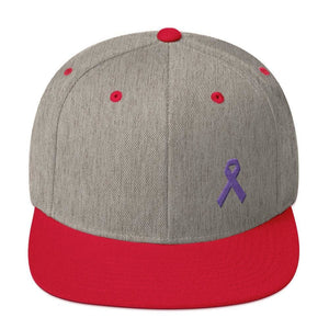 Load image into Gallery viewer, Cancer and Alzheimers Awareness Flat Brim Snapback Hat with Purple Ribbon - One-size / Heather Grey/ Red - Hats