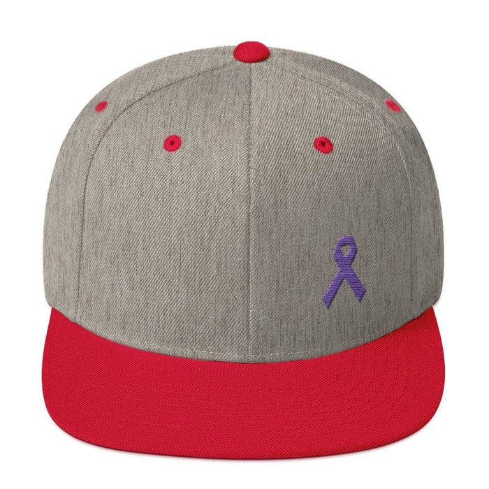 Cancer and Alzheimers Awareness Flat Brim Snapback Hat with Purple Ribbon - One-size / Heather Grey/ Red - Hats