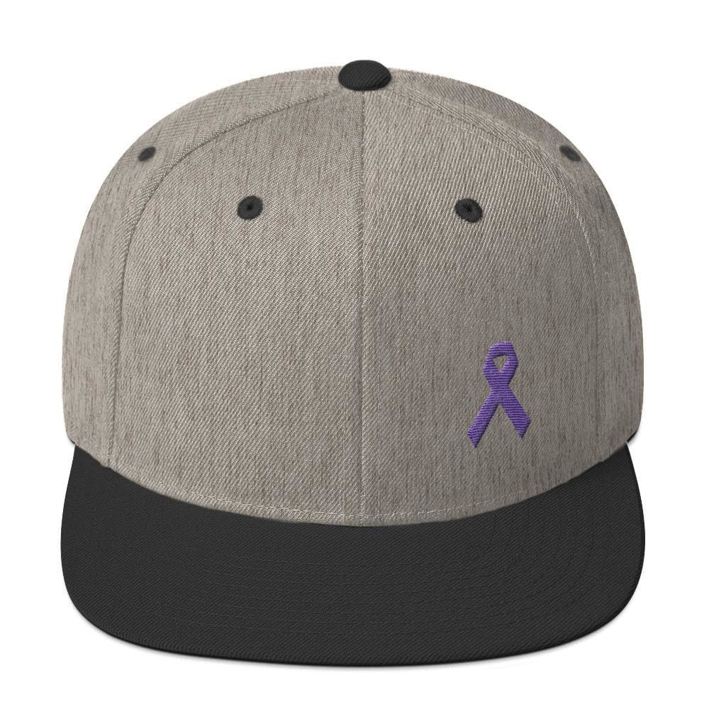 Cancer and Alzheimers Awareness Flat Brim Snapback Hat with Purple Ribbon - One-size / Heather/Black - Hats