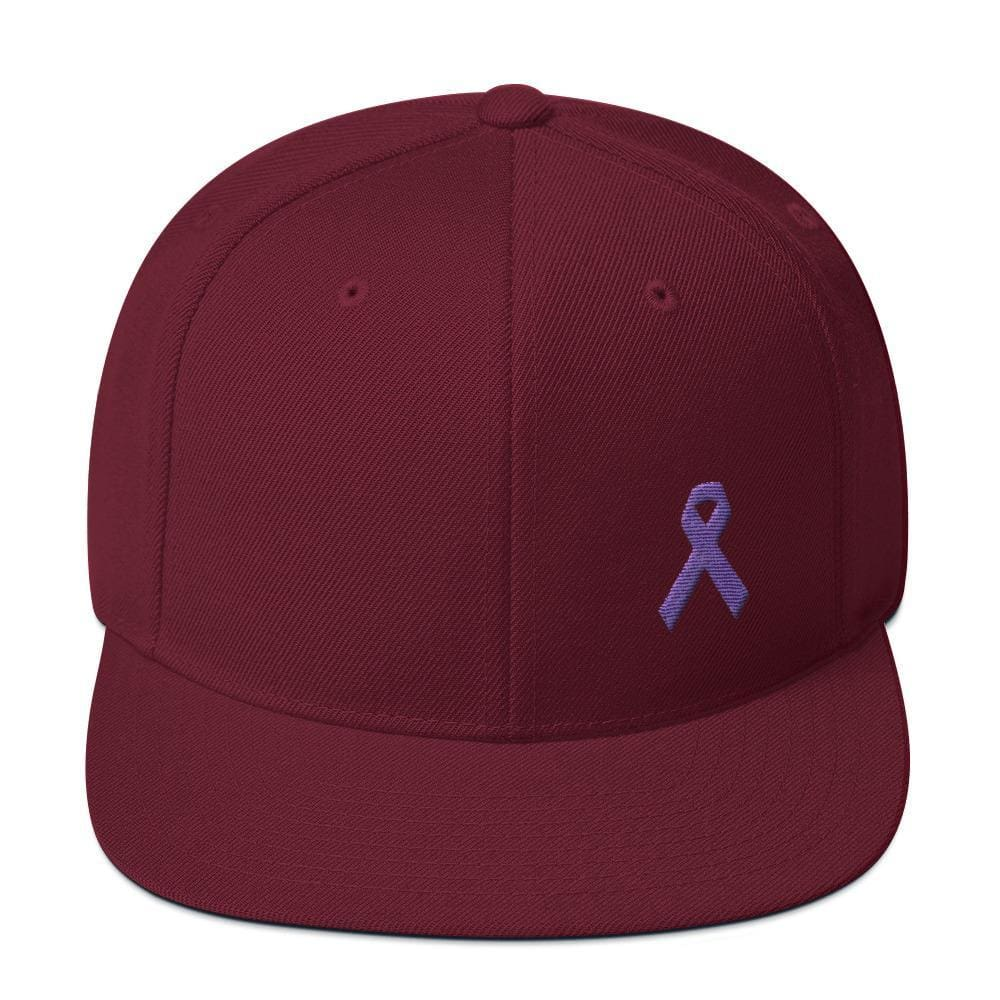 Load image into Gallery viewer, Cancer and Alzheimers Awareness Flat Brim Snapback Hat with Purple Ribbon - One-size / Maroon - Hats
