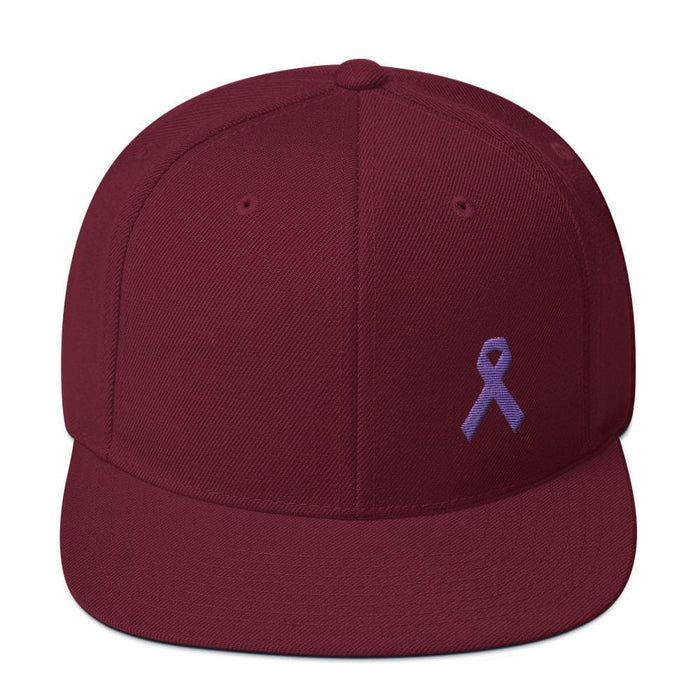 Cancer and Alzheimers Awareness Flat Brim Snapback Hat with Purple Ribbon - One-size / Maroon - Hats