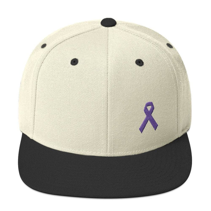 Cancer and Alzheimers Awareness Flat Brim Snapback Hat with Purple Ribbon - One-size / Natural/ Black - Hats