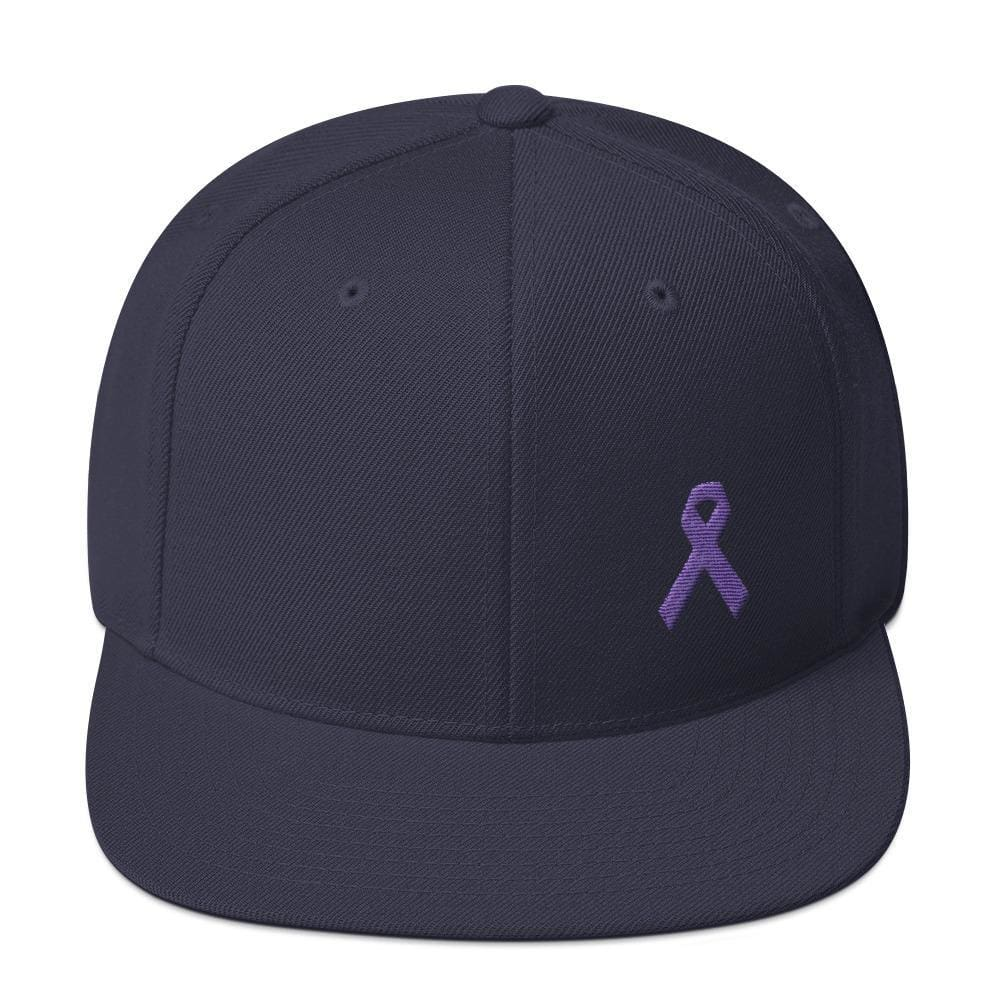 Cancer and Alzheimers Awareness Flat Brim Snapback Hat with Purple Ribbon - One-size / Navy - Hats
