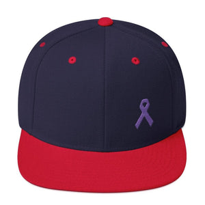 Cancer and Alzheimers Awareness Flat Brim Snapback Hat with Purple Ribbon - One-size / Navy/ Red - Hats