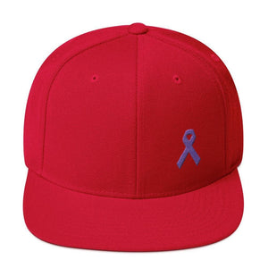 Cancer and Alzheimers Awareness Flat Brim Snapback Hat with Purple Ribbon - One-size / Red - Hats