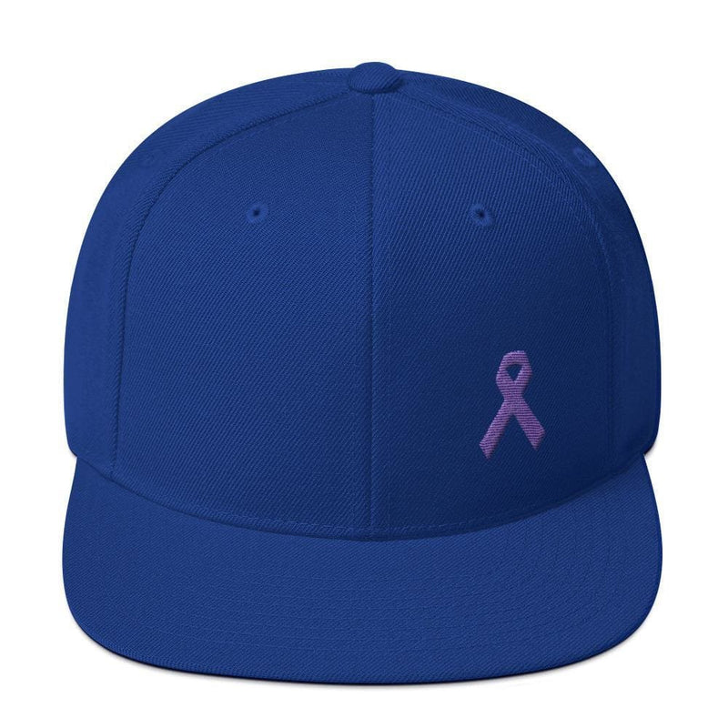 Cancer and Alzheimers Awareness Flat Brim Snapback Hat with Purple Ribbon - One-size / Royal Blue - Hats