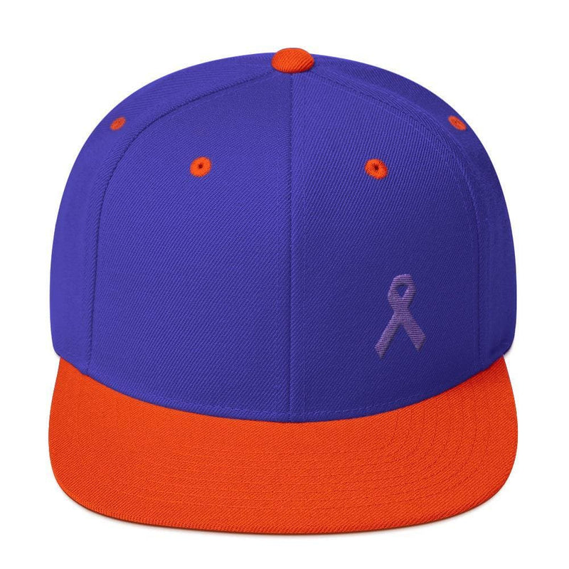 Cancer and Alzheimers Awareness Flat Brim Snapback Hat with Purple Ribbon - One-size / Royal/ Orange - Hats