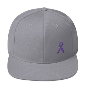 Load image into Gallery viewer, Cancer and Alzheimers Awareness Flat Brim Snapback Hat with Purple Ribbon - One-size / Silver - Hats