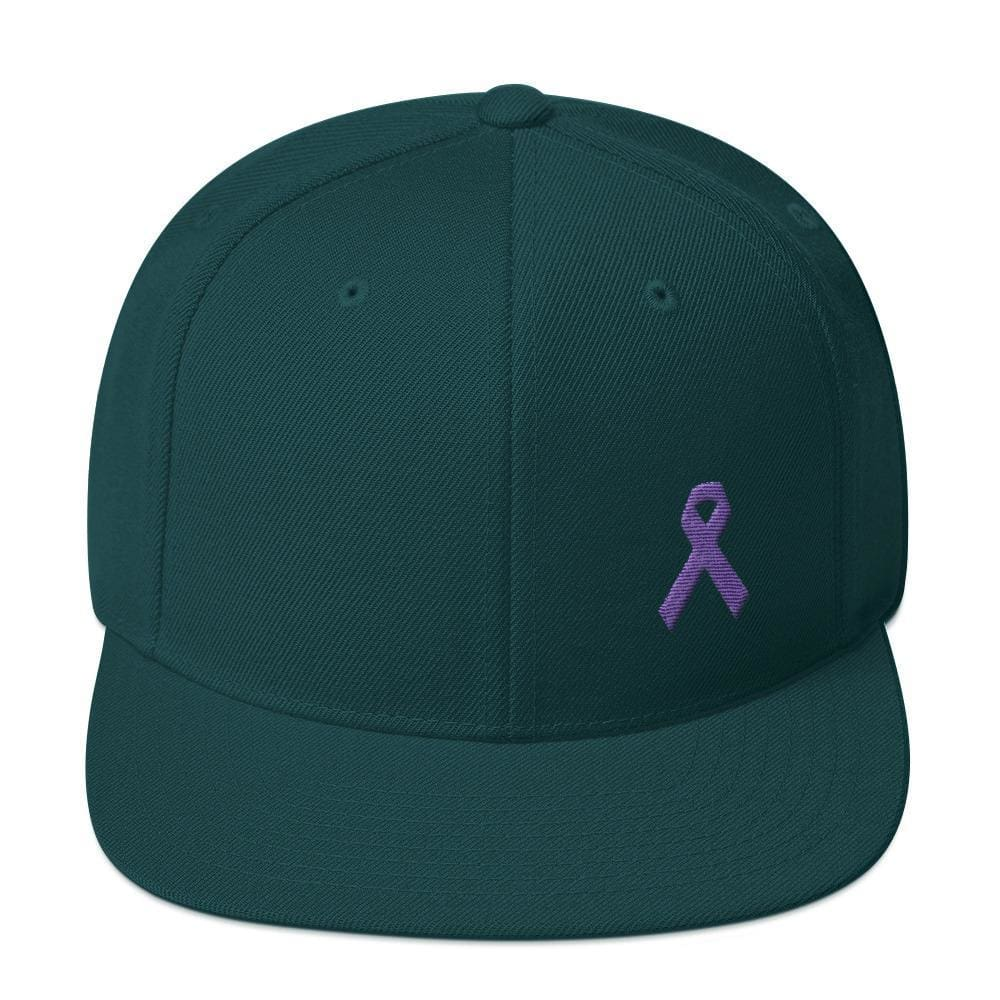 Cancer and Alzheimers Awareness Flat Brim Snapback Hat with Purple Ribbon - One-size / Spruce - Hats
