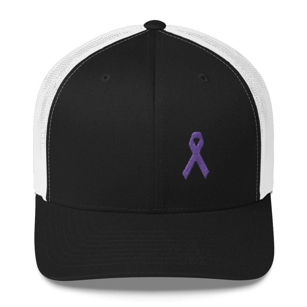 Load image into Gallery viewer, Cancer and Alzheimers Awareness Snapback Trucker Hat with Purple Ribbon - One-size / Black/ White - Hats