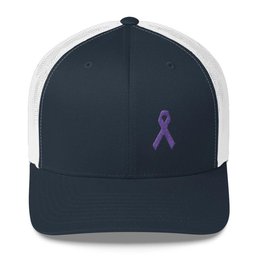 Cancer and Alzheimers Awareness Snapback Trucker Hat with Purple Ribbon - One-size / Navy/ White - Hats