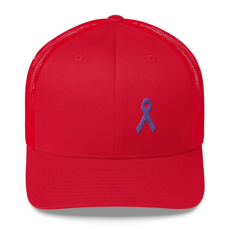 Cancer and Alzheimer's Awareness Snapback Trucker Hat with Purple Ribbon